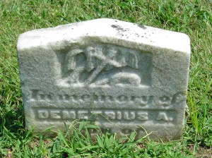 Tombstone of Demetrius A. Bradley (1860-1865), at St. Michael's Cem., Loretto